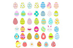 Easter eggs vector icons