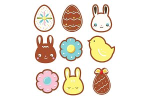 Easter gingerbread cookies icons