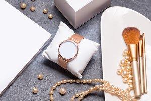 Beautiful watch, jewelry cosmetic