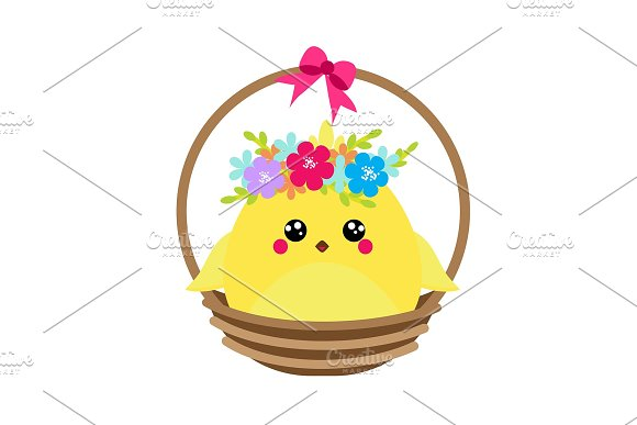 Cute Chicken Sitting In Basket