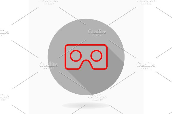 Fine Vector Flat Icon With VR Logo