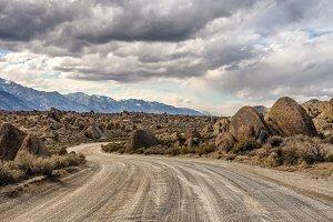 Dirt road into Alabama Hills in California, USA