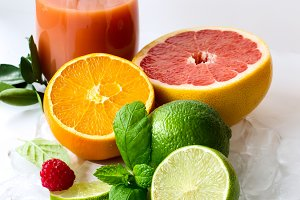 Healthy citrus juice with fruits