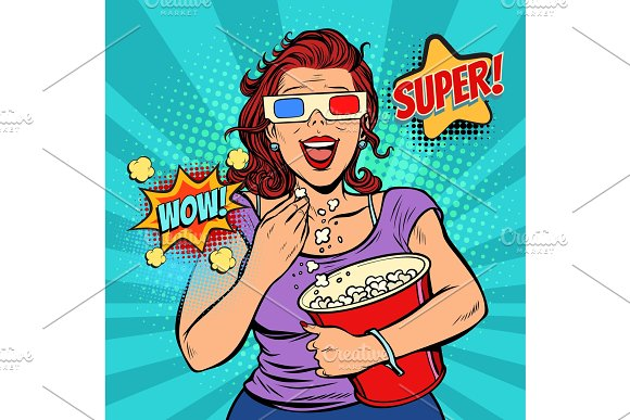 Woman In 3D Glasses Watching A Movie Smiling And Eating Popcorn