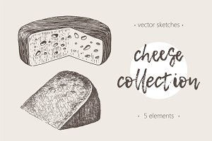 Collection of cheese illustrations