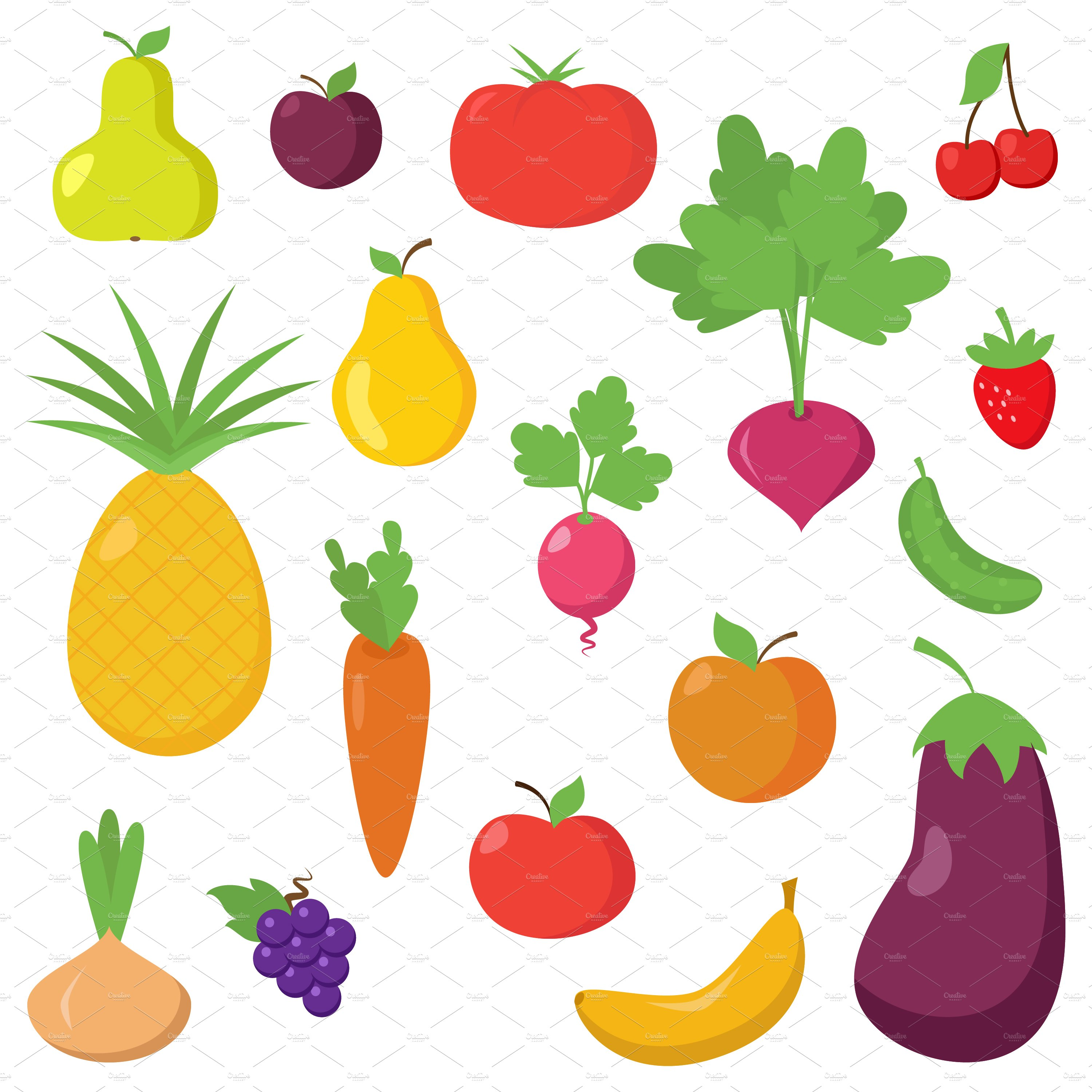 Fruit and Vegetable Vectors/Clipart ~ Illustrations ...