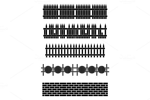 Silhouette Wooden Fence Set