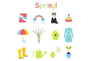 Spring icons set, flat style. Gardening cute collection of design elements, isolated on white background.
