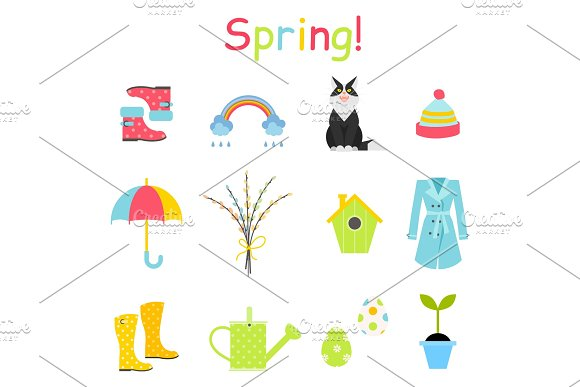 Spring Icons Set Flat Style Gardening Cute Collection Of Design Elements Isolated On White Background