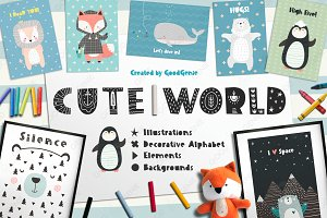 Cute World. Graphic set