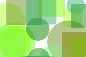 Abstract green circles squares illustration background