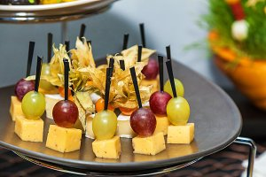 Canape with cheese and grape