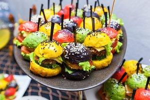 multicolored burgers