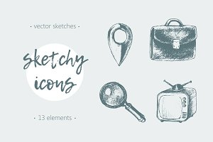 Set of sketchy network icons