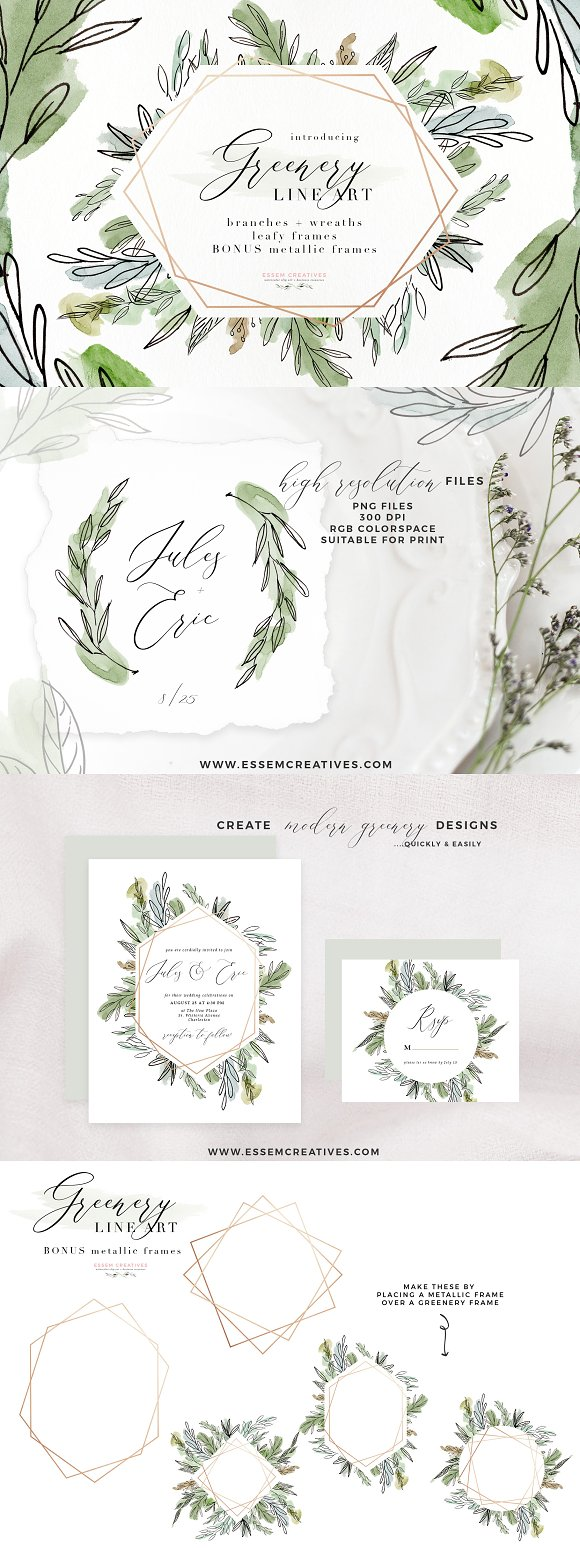 Watercolor Greenery Line Art Clipart