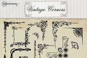 Vintage Corner Clipart & Brushes