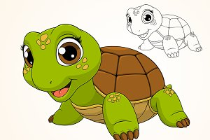 Cheerful child turtle