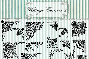 Vintage Corners Clipart & Brushes 2