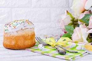 Easter cake and Place setting Easter