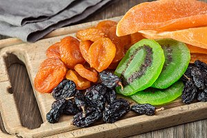 Dried fruits and napkins.