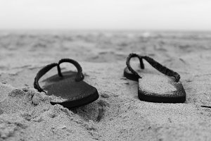 Sandals in the Coastline Black White