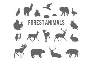 Forest animals silhouettes set.
