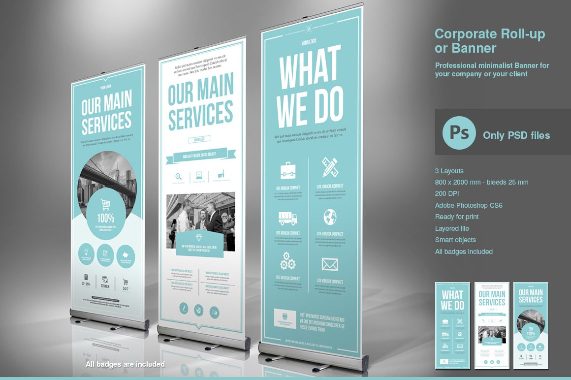 Business Roll-Up Banner PSD ~ Flyer Templates ~ Creative Market