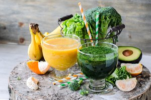 Healthy green and yellow smoothy