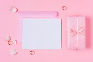 Blank postcard and gift box