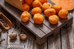 Homemade sweet potato croquettes