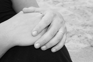 Married Hands Black and White