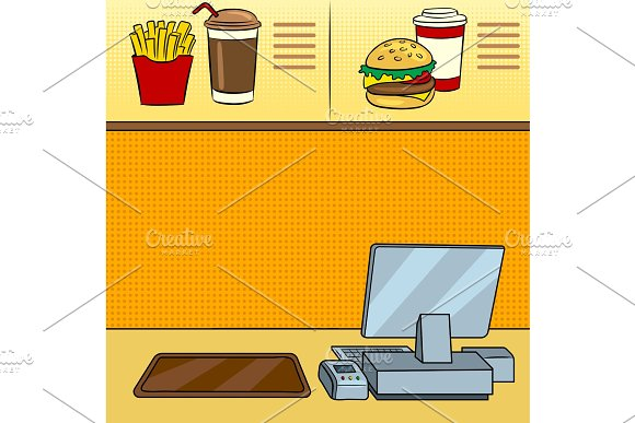 Fast Food Restaurant Pop Art Vector