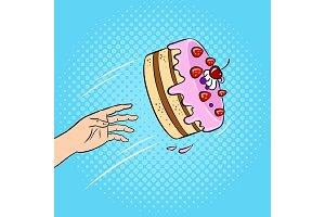 Cake is thrown pop art vector illustration
