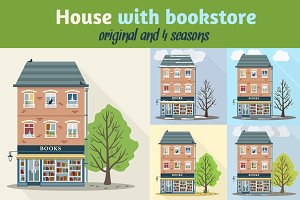 Retro house with bookstore