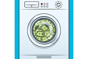 Washing machine laundering dollars pop art vector