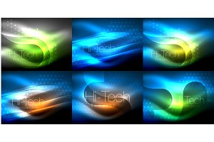 Set of neon glowing waves and lines, shiny light effect digital techno motion backgrounds. Collection of dark space magic vector templates