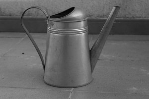Watering Can Detail Black and White