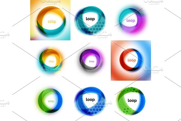 Set Of Loop Infinity Business Icons Abstract Concept Created With Transparent Shapes And Blurred Effects