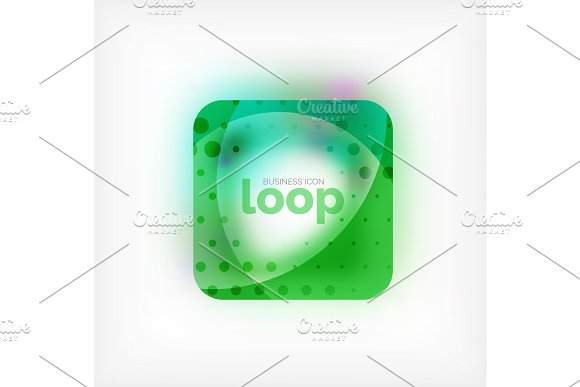 Vector Square Loop Business Symbol Geometric Icon Created Of Waves With Blurred Shadow