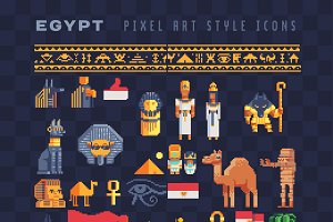 Pixel art Egypt country icons set.
