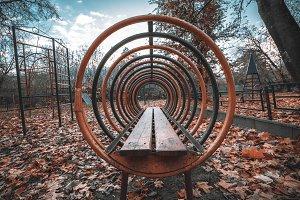Outdoor playground for kids, autumn