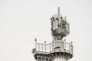 Top of floodlight mast, antennas
