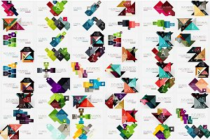 Mega collection of square and triangle banners made of pieces of paper - designs - stripes, ribbons, lines. For banners, business backgrounds, presentations