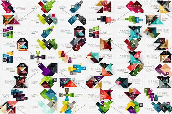 Mega Collection Of Square And Triangle Banners Made Of Pieces Of Paper Designs Stripes Ribbons Lines For Banners Business Backgrounds Presentations