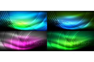 Neon glowing light abstract backgrounds collection, mega set of energy magic concept backgrounds