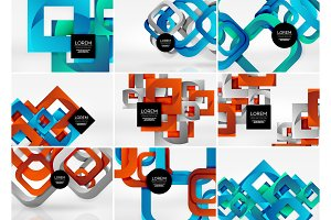 Mega collection of 3d form vector abstract backgrounds with cut style 3d geometric forms - lines, squares, rectangles. Business presentation design templates, brochure or flyer concepts