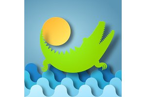 Crocodile plays with the Sun