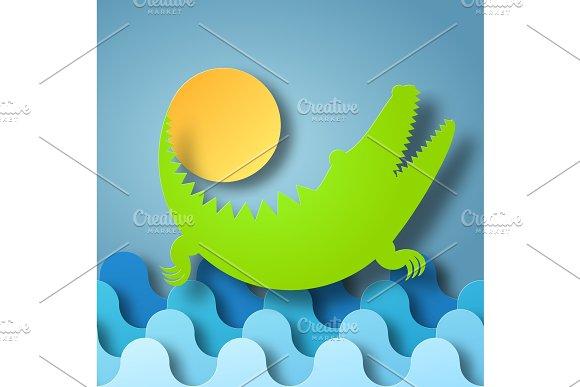 Crocodile Plays With The Sun
