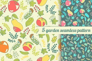 5 garden seamless patterns