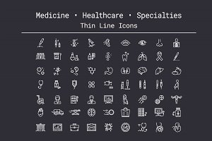 Medicine, Healthcare Thin Line Icons